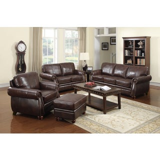 At Home Designs Monterey 4-piece Room Group in Natural Brown Leather