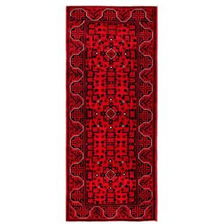 Herat Oriental Afghan Hand-knotted Tribal Khal Mohammadi Red/ Navy Wool Rug (2'7 x 6'5)