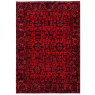 Herat Oriental Afghan Hand-knotted Tribal Khal Mohammadi Red/ Navy Wool Rug (4'4 x 6'3)
