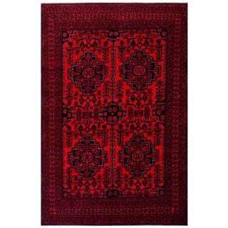 Herat Oriental Afghan Hand-knotted Tribal Khal Mohammadi Red/ Navy Wool Rug (6'3 x 9'5)
