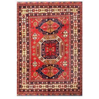 Herat Oriental Afghan Hand-knotted Tribal Karghari Red/ Navy Wool Rug (7'8 x 10'10)