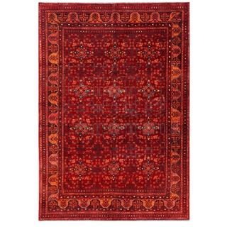 Herat Oriental Afghan Hand-knotted Tribal Khal Mohammadi Red/ Navy Wool Rug (6'5 x 9'7)