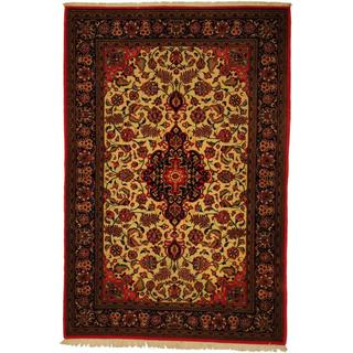 Herat Oriental Persian Hand-knotted Qum Ivory/ Navy Wool Rug (4'6 x 6'9)