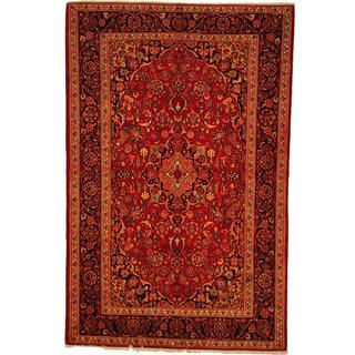Herat Oriental Persian Hand-knotted Kashan Red/ Navy Wool Rug (4'5 x 6'10)