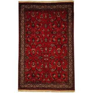 Herat Oriental Persian Hand-knotted Bidjar Red/ Ivory Wool and Silk Rug (4'6 x 7'1)