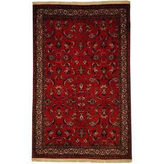 Herat Oriental Persian Hand-knotted Bidjar Red/ Ivory Wool and Silk Rug (4'6 x 7'1)