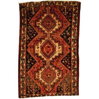 Herat Oriental Antique 1950's Persian Hand-knotted Tribal Hamadan Rust/ Ivory Wool Rug (4'6 x 7')