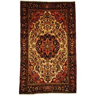Herat Oriental Antique 1940's Persian Hand-knotted Tribal Sarouk Ivory/ Navy Wool Rug (5'4 x 8'8)