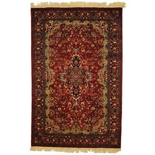 Herat Oriental Pak-Persian Hand-knotted Tabriz Red/ Navy Wool and Silk Rug (4'7 x 7')
