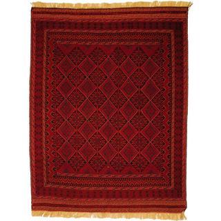 Herat Oriental Afghan Hand-woven Tribal Soumak Red/ Navy Wool Rug (4'10 x 6'5)