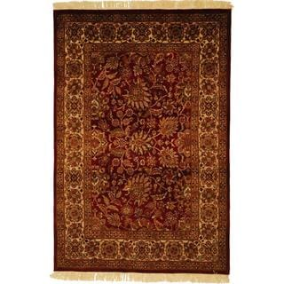 Herat Oriental Indo Hand-knotted Mahal Red/ Ivory Wool Rug (4'8 x 7')