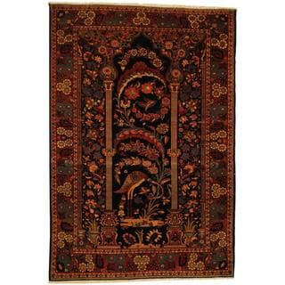 Herat Oriental Antique 1920's Persian Hand-knotted Kashan Navy/ Red Wool Rug (4'5 x 6'6)