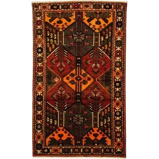 Herat Oriental Antique 1920's Persian Hand-knotted Bakhtiari Rust/ Ivory Wool Rug (4'3 x 7'1)