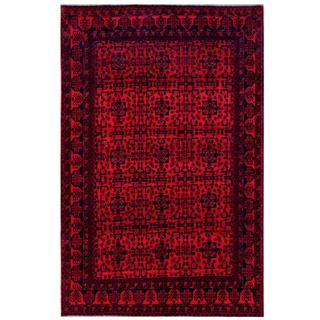 Herat Oriental Afghan Hand-knotted Tribal Khal Mohammadi Red/ Navy Wool Rug (6'6 x 9'9)