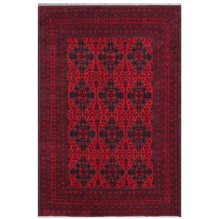 Herat Oriental Afghan Hand-knotted Tribal Khal Mohammadi Red/ Navy Wool Rug (6'6 x 9'8)