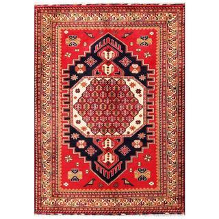 Herat Oriental Afghan Hand-knotted Tribal Kargahi Red/ Navy Wool Rug (5'6 x 7'8)