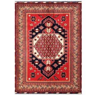 Herat Oriental Afghan Hand-knotted Tribal Karghari Red/ Navy Wool Rug (5'9 x 7'8)