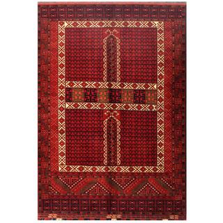 Herat Oriental Afghan Hand-knotted Tribal Kargahi Red/ Navy Wool Rug (6' x 8'6)