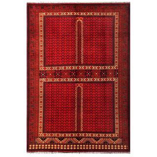 Herat Oriental Afghan Hand-knotted Tribal Karghari Red/ Navy Wool Rug (6'10 x 9'10)