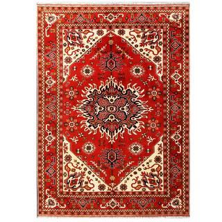 Herat Oriental Afghan Hand-knotted Tribal Karghari Red/ Ivory Wool Rug (6'9 x 9'5)