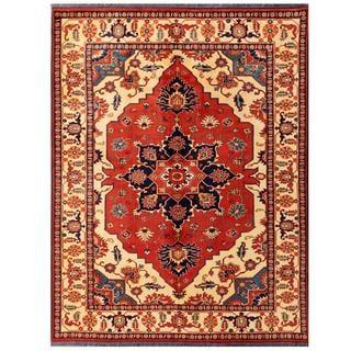 Herat Oriental Afghan Hand-knotted Tribal Karghari Red/ Ivory Wool Rug (7'1 x 9'4)