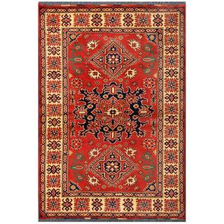 Herat Oriental Afghan Hand-knotted Tribal Karghai Red/ Tan Wool Rug (4' x 5'11)