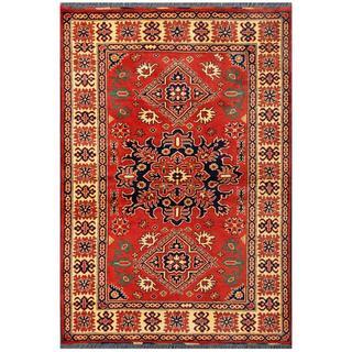 Herat Oriental Afghan Hand-knotted Tribal Kargahi Red/ Tan Wool Rug (4' x 5'11)