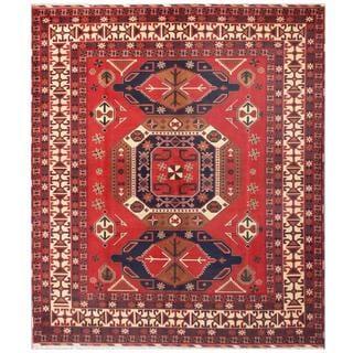 Herat Oriental Afghan Hand-knotted Tribal Karghari Red/ Navy Wool Rug (8'5 x 9'6)