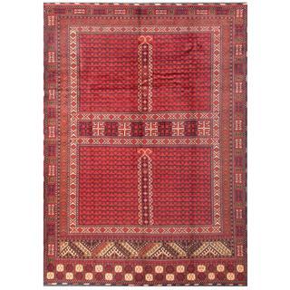Herat Oriental Afghan Hand-knotted Tribal Karghari Red/ Navy Wool Rug (8'4 x 11'4)