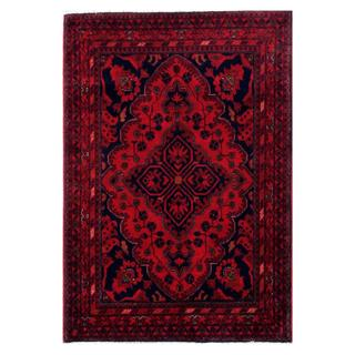 Herat Oriental Afghan Hand-knotted Tribal Khal Mohammadi Red/ Navy Wool Rug (3'5 x 4'10)