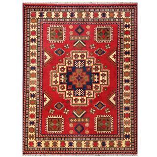 Herat Oriental Afghan Hand-knotted Tribal Karghai Red/ Ivory Wool Rug (4'11 x 6'6)