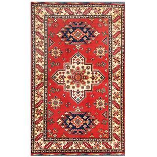 Herat Oriental Afghan Hand-knotted Tribal Karghai Red/ Ivory Wool Rug (3'11 x 6'4)