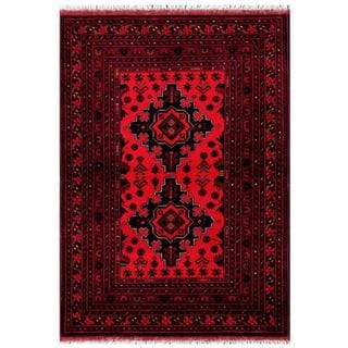 Herat Oriental Afghan Hand-knotted Tribal Khal Mohammadi Red/ Navy Wool Rug (3'5 x 4'9)