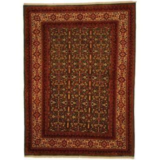 Herat Oriental Persian Hand-knotted Bidjar Green/ Ivory Wool Rug (4'7 x 6'3)