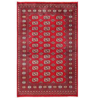 Herat Oriental Pakistani Hand-knotted Tribal Bokhara Red/ Black Wool Rug (4'1 x 6'6)