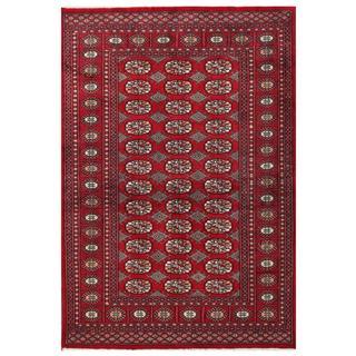 Herat Oriental Pakistani Hand-knotted Tribal Bokhara Red/ Black Wool Rug (4'1 x 5'9)