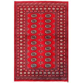 Herat Oriental Pakistani Hand-knotted Tribal Bokhara Red/ Black Wool Rug (4'1 x 6')