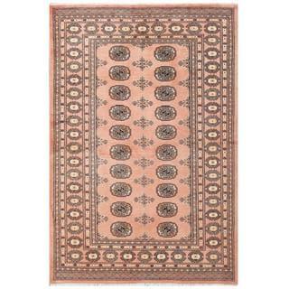 Herat Oriental Pakistani Hand-knotted Tribal Bokhara Pink/ Black Wool Rug (4'2 x 6'1)