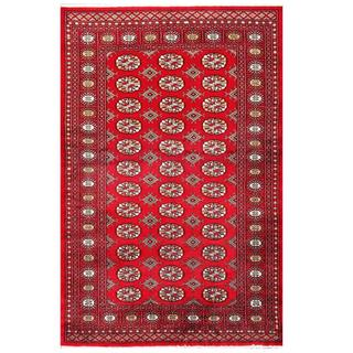 Herat Oriental Pakistani Hand-knotted Tribal Bokhara Red/ Black Wool Rug (4'1 x 6'3)