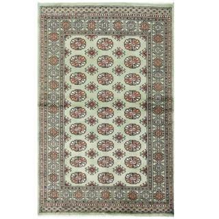 Herat Oriental Pakistani Hand-knotted Tribal Bokhara Green/ Black Wool Rug (4' x 6')