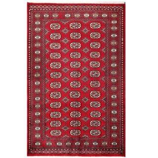 Herat Oriental Pakistani Hand-knotted Tribal Bokhara Red/ Black Wool Rug (4'1 x 6'4)