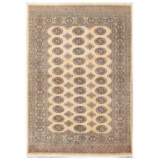 Herat Oriental Pakistani Hand-knotted Tribal Bokhara Beige/ Black Wool Rug (4'2 x 5'11)