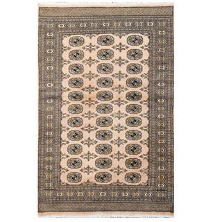 Herat Oriental Pakistani Hand-knotted Tribal Bokhara Beige/ Black Wool Rug (4' x 6'2)
