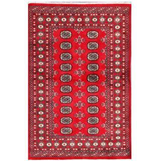 Herat Oriental Pakistani Hand-knotted Tribal Bokhara Red/ Black Wool Rug (4' x 6'1)