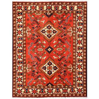 Herat Oriental Afghan Hand-knotted Tribal Karghari Red/ Ivory Wool Rug (5'1 x 6'8)