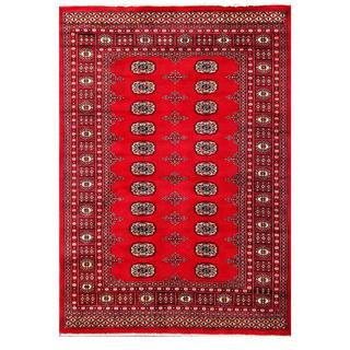 Herat Oriental Pakistani Hand-knotted Tribal Bokhara Red/ Black Wool Rug (4'8 x 6'5)