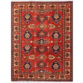 Herat Oriental Afghan Hand-knotted Tribal Kargahi Red/ Ivory Wool Rug (5'1 x 6'6)