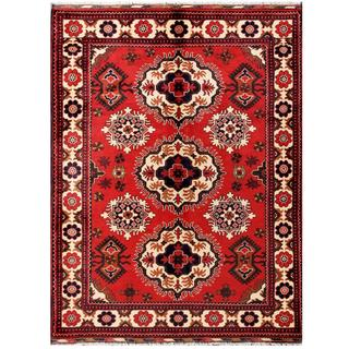 Herat Oriental Afghan Hand-knotted Tribal Kargahi Red/ Ivory Wool Rug (5' x 6'7)