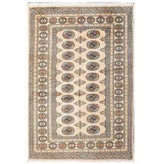 Herat Oriental Pakistani Hand-knotted Tribal Bokhara Beige/ Black Wool Rug (4'1 x 6'2)