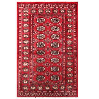 Herat Oriental Pakistani Hand-knotted Tribal Bokhara Red/ Black Wool Rug (3'1 x 4'8)